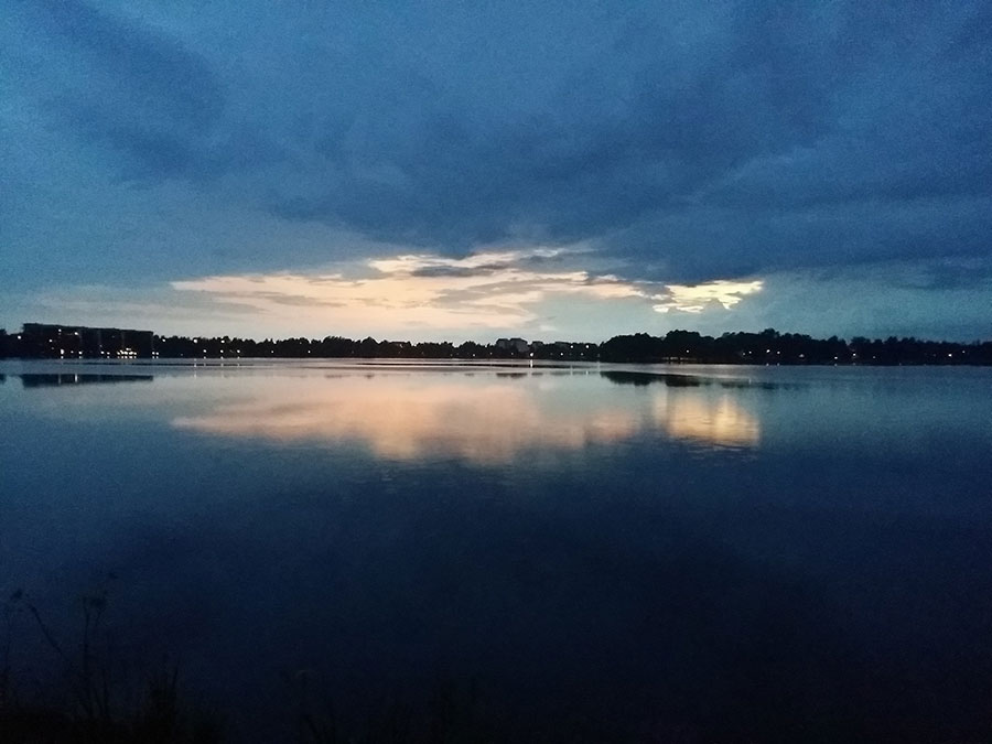 The beautiful lake in Växjö during summer